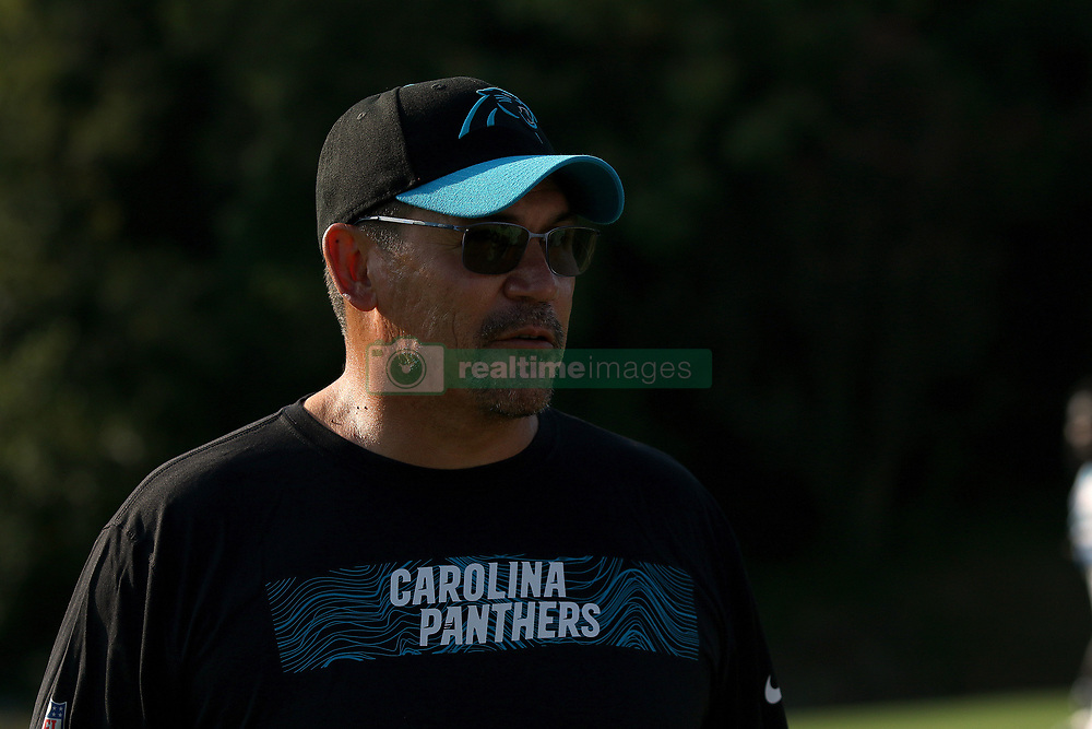 July 28, 2018 - Spartanburg, SC, U.S. - SPARTANBURG, SC - JULY 28: Head Coach Ron Rivera Carolina Panthers as the third day of training camp begins for the Carolina Panthers practice at Wofford College July 28, 2018 in Spartanburg, S.C. (Photo by John Byrum/Icon Sportswire) (Credit Image: © John Byrum/Icon SMI via ZUMA Press)