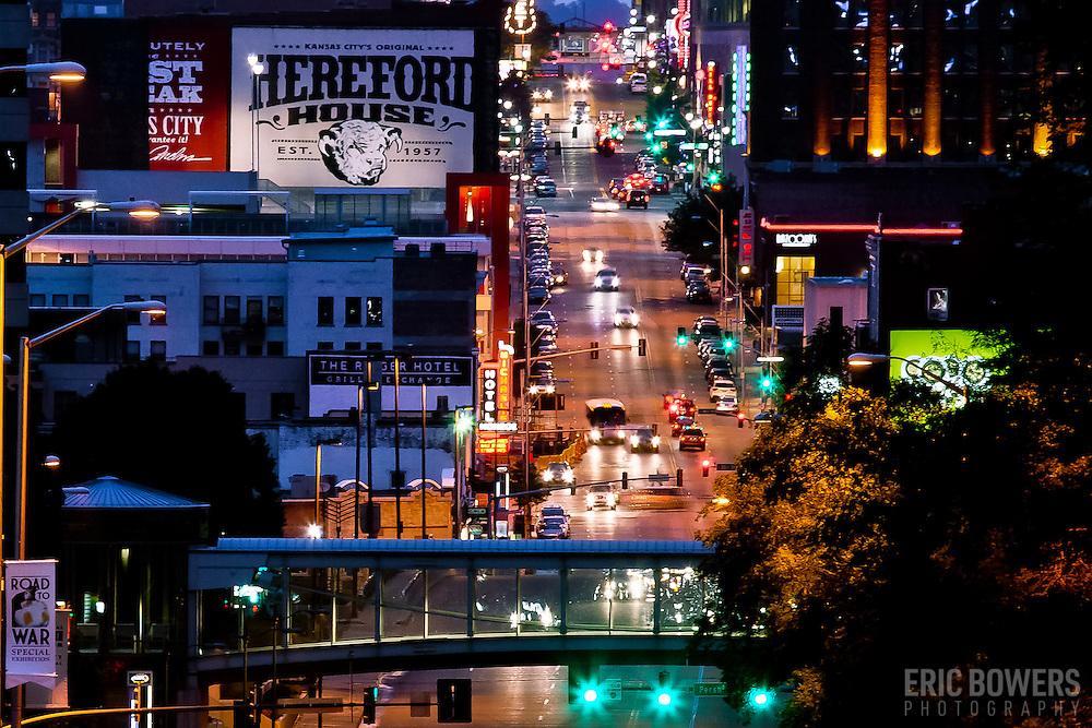 Looking northward up Main Street at dusk in downtown Kansas City, Missouri from near Main and Grand Blvd.