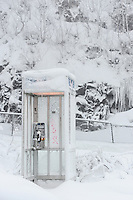 Bell Telephone Booth in Snow covered Mont Royal Park in Winter, Parc du Mont Royal, Montreal, Quebec, Canada