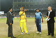 Chennai Super Kings captain MS Dhoni and Titans captain Henry Davids at the toss during match 3 of the Karbonn Smart Champions League T20 (CLT20) 2013  between The Chennai Superkings and the Titans held at the JSCA International Cricket Stadium, Ranchi on the 22nd September 2013<br /> <br /> Photo by Ron Gaunt-CLT20-SPORTZPICS  <br /> <br /> Use of this image is subject to the terms and conditions as outlined by the CLT20. These terms can be found by following this link:<br /> <br /> http://sportzpics.photoshelter.com/image/I0000NmDchxxGVv4