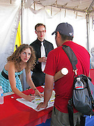 Abigal Washburn signing a poster at the Waterloo Records tent at the Austin City Limits Music Festival, Austin Texas, September 28 2008.