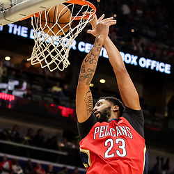 Oct 19, 2018; New Orleans, LA, USA; New Orleans Pelicans forward Anthony Davis (23) dunks against the Sacramento Kings during the first half at the Smoothie King Center. The Pelicans defeated the Kings 149-129. Mandatory Credit: Derick E. Hingle-USA TODAY Sports