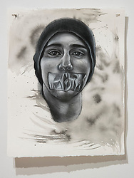 April 26, 2018 - Tampa, Florida, U.S. - A charcoal portrait of Parkland victim Joaquin Oliver, by Symone Hall in the BFA show at the Scarfone/Hartley Gallery at the University of Tampa, on April 26, 2018 in Tampa, Fla. (Credit Image: © Monica Herndon/Tampa Bay Times via ZUMA Wire)