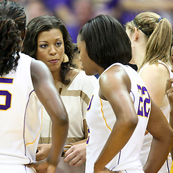 November 16, 2011; Baton Rouge, LA; LSU Tigers head coach Nikki Caldwell talks to her team during the first half of a game against the Georgetown Hoyas at the Pete Maravich Assembly Center.  Mandatory Credit: Derick E. Hingle-US PRESSWIRE