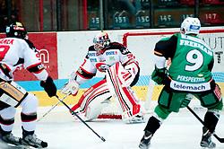 07.10.2012, Hostan Arena, Znojmo, CZE, EBEL, HC Orli Znojmo vs HDD Olimpija Ljubljana, 10. Runde, im Bild # 90.Kacetl Ondrej ZN, 9. Freeman Scott LJU  during the Erste Bank Icehockey League 10nd round match betweeen HC Orli Znojmo and HDD Olimpija Ljubljana at the Hostan Arena, Znojmo, Czech Republic on 2012/10/07. EXPA Pictures © 2012, PhotoCredit: EXPA/  Rostislav Pfeffer