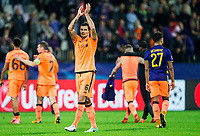 MARIBOR, SLOVENIA - OCTOBER 17: Dejan Lovren of Liverpool FC celebrates after winning 7-0 during UEFA Champions League 2017/18 group E match between NK Maribor and Liverpool FC at Stadium Ljudski vrt, on October 17, 2017 in Maribor, Slovenia. (Photo by Vid Ponikvar / Sportida)