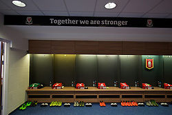 CARDIFF, WALES - Tuesday, October 13, 2015: Wales players' shirts laid out in the dressing room before the UEFA Euro 2016 qualifying Group B match against Andorra. (Pic by David Rawcliffe/Propaganda)