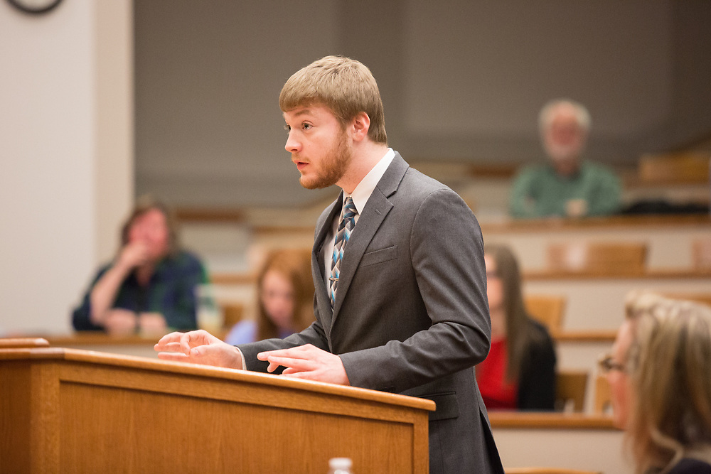 Finalist Jordan Schaper presents his case as petitioner at the 2017 Linden Cup on March 25 in the Barberi Court Room at Gonzaga University's School of Law, eventually winning with partner Pam Kohlmeier. The event was hosted by the Moot Court Honors Council and was the 82nd Anniversary of the competition. Photo by Libby Kamrowski