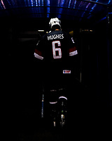 MAGNITOGORSK, RUSSIA - APRIL 22: USA's Jack Hughes #6 walks back to the locker room following warm ups prior to preliminary round action against Sweden at the 2018 IIHF Ice Hockey U18 World Championship. (Photo by Steve Kingsman/HHOF-IIHF Images)