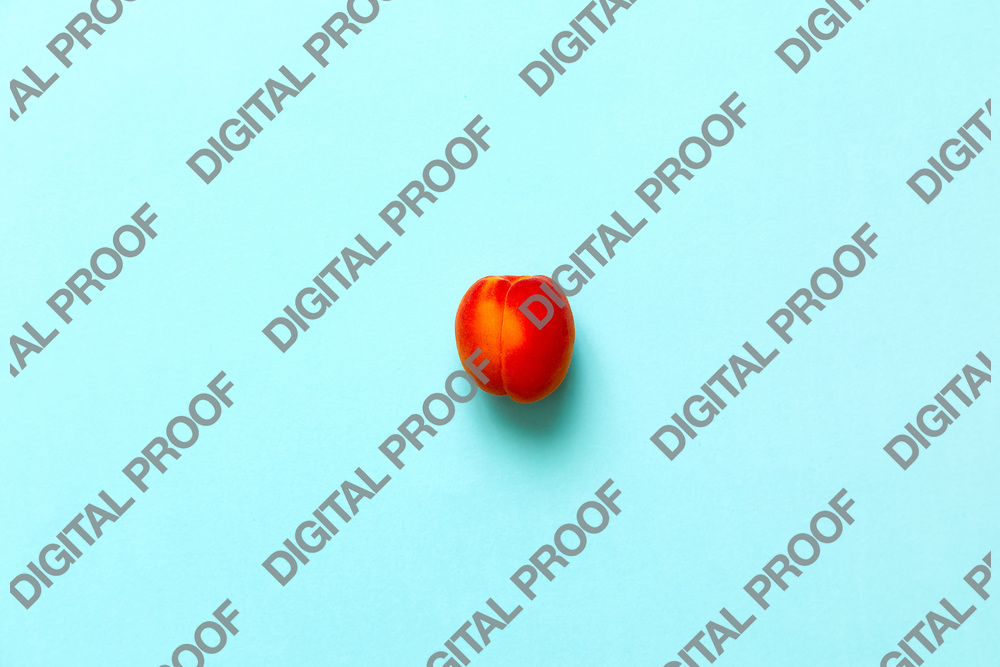 Lonely Apricot  isolated over a blue background viewed from above, flatlay style
