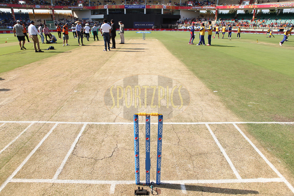 Match Wicket during match 13 of the Pepsi IPL 2015 (Indian Premier League) between The Sunrisers Hyderabad and The Delhi Daredevils held at the ACA-VDCA Stadium in Visakhapatnam India on the 18th April 2015.<br /> <br /> Photo by:  Saikat Das / SPORTZPICS / IPL