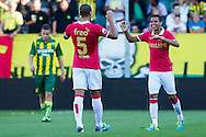 DEN HAAG, ADO Den Haag - PSV, voetbal Eredivisie, seizoen 2013-2014, 03-08-2013, Kyocera Stadion, PSV speler Adam Maher (R) en PSV speler Jeffrey Bruma (M) juichen na het eigendoelpunt 0-2 van ADO.