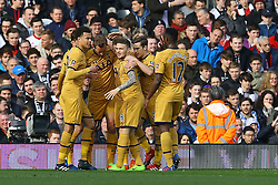 Goal, Tottenham Hotspur celebrate Harry Kane of Tottenham Hotspur goal, Fulham 0-1 Tottenham Hotspur - Mandatory by-line: Jason Brown/JMP - 19/02/2017 - FOOTBALL - Craven Cottage - Fulham, England - Fulham v Tottenham Hotspur - Emirates FA Cup fifth round