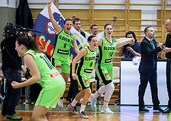 Teja Oblak of Slovenia, Nika Baric of Slovenia, Eva Lisec of Slovenia celebrate after winning and qualifying during basketball match between Women National Teams of Slovenia and Lithuania in Qualifications of EuroBasket Women 2017, on November 19, 2016 in Gimnazija Celje, Slovenia. Photo by Vid Ponikvar / Sportida