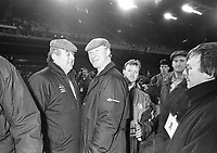 A disgusted Jack Charlton and Joe Delaney, Treasurer of the FAI (left)  at the Ireland v England at Landsdowne Road. Following the Irish goal a riot erupted and the game was abandoned. 15/2/1995 (Part of the Independent Newspapers Ireland/NLI Collection)