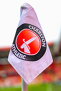 A general view of the corner flag inside The Valley Stadium prior to the EFL Sky Bet League 1 second leg Play-Off match between Charlton Athletic and Doncaster Rovers at The Valley, London, England on 17 May 2019.