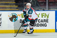 KELOWNA, CANADA - MARCH 2:  Liam Kindree #26 of the Kelowna Rockets skates with the puck against the Portland Winterhawks on March 2, 2019 at Prospera Place in Kelowna, British Columbia, Canada.  (Photo by Marissa Baecker/Shoot the Breeze)