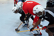 Graz, Austria - 2017 March 23: (C) Tomasz Goworowski from SO Poland competes with SO St. Lucia in Third Place Floor Hockey Match while Special Olympics World Winter Games Austria 2017 at Convention Centre Messe Graz on March 23, 2017 in Graz, Austria.<br /> <br /> Mandatory credit:<br /> Photo by © Adam Nurkiewicz / Mediasport<br /> <br /> Adam Nurkiewicz declares that he has no rights to the image of people at the photographs of his authorship.<br /> <br /> Picture also available in RAW (NEF) or TIFF format on special request.<br /> <br /> Any editorial, commercial or promotional use requires written permission from the author of image.<br /> <br /> Image can be used in the press when the method of use and the signature does not hurt people on the picture.