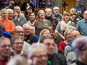 26 JANUARY 2020 - AMES, IOWA: People listen to US Senator Amy Klobuchar speak during a campaign event in Ames. Sen. Klobuchar campaigned to support her candidacy for the US Presidency Sunday in central Iowa during the one day break from the impeachment trial of President Trump. She is trying to capitalize on her recent uptick in national polls. Iowa holds the first selection event of the presidential election cycle. The Iowa Caucuses are Feb. 3, 2020.    PHOTO BY JACK KURTZ