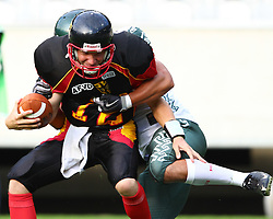 08.07.2011, Tivoli Stadion, Innsbruck, AUT, American Football WM 2011, Group A, Germany (GER) vs Mexico (MEX), im Bild Quaterback Sack from Muñoz Jesús alfredo (Mexico, #6, EXT) against Joachim Ullrich (Germany, #12, QB)  // during the American Football World Championship 2011 Group A game, Germany vs Mexico, at Tivoli Stadion, Innsbruck, 2011-07-08, EXPA Pictures © 2011, PhotoCredit: EXPA/ T. Haumer