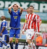 Britannia Stadium  Stoke v Leicester (0-0) Championship 04/05/2008<br /> Richard Stearman (Leicester) rues missed chance as Stoke   are promoted to The Premier League  and Leicester are relegated<br /> Photo Roger Parker Fotosports International