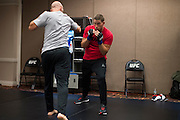 LAS VEGAS, NV - JULY 8:  Joshua Stansbury warms up in the locker room before The Ultimate Fighter Finale at MGM Grand Garden Arena on July 8, 2016 in Las Vegas, Nevada. (Photo by Cooper Neill/Zuffa LLC/Zuffa LLC via Getty Images) *** Local Caption *** Joshua Stansbury