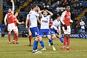 Bury Forward  Chris Maguire (7) misses and Bury Defender,  Craig Jones (2) holds his head in his hands during the EFL Sky Bet League 1 match between Bury and Fleetwood Town at the JD Stadium, Bury, England on 30 December 2017. Photo by Mark Pollitt.