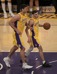 November 21, 2017 - Los Angeles, California, United States of America - Lonzo Ball #2 and Brook Lopez #11 of the Los Angeles Lakers during their game with the Chicago Bulls on Tuesday November 21, 2017 at the Staples Center in Los Angeles, California. Lakers defeat Bulls, 103-94. JAVIER ROJAS/PI (Credit Image: © Prensa Internacional via ZUMA Wire)