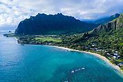 Aerial photograph of Kaa'awa & Kualoa Valley, Windward Oahu, Hawaii