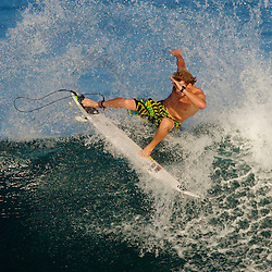 Pro surfer Bede Durbidge on the North Shore of Oahu.