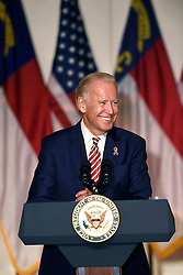 """Vice President Joe Biden speaks on Monday, September 12, 2016, to promote the Obama administration's record of supporting community colleges in Charlotte, NC, USA. He spoke to an invitation-only audience at 11:15 a.m. in the Overcash Building at Central Piedmont Community College. Biden focused on support for community colleges and businesses """"that are working together to create pathways to the middle class."""" Photo by John D. Simmons/Charlotte Observer/TNS/ABACAPRESS.COM"""