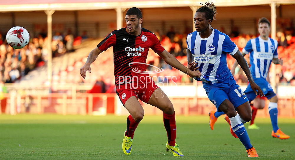Shamir Fenelon holding off Gaetan Bong during the Pre-Season Friendly match between Crawley Town and Brighton and Hove Albion at the Checkatrade.com Stadium, Crawley, England on 22 July 2015. Photo by Michael Hulf.