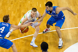 Klemen Prepelic of Slovenia between Andrea Traini of Italy and Slavatore Parrillo of Italy  during basketball match between National team of Slovenia and Italy in First Round of U20 Men European Championship Slovenia 2012, on July 12, 2012 in Domzale, Slovenia.  Slovenia defeated Italy 81-68. (Photo by Vid Ponikvar / Sportida.com)