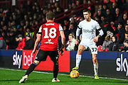 Middlesbrough Midfielder Mo Besic (37) and Brentford Midfielder Alan Judge (18) in action during the EFL Sky Bet Championship match between Brentford and Middlesbrough at Griffin Park, London, England on 24 November 2018.