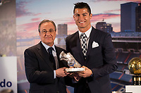 Florentino Perez delivered the award for top scorer Cristiano Ronaldo during the tribute to Cristiano Ronaldo by Real Madrid CF on the occasion of his new record by being the top scorer in the club's history at Santiago Bernabeu Stadium in Madrid, October 02, 2015.<br /> (ALTERPHOTOS/BorjaB.Hojas)