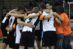 Players of Novo mesto celebrate at SKL finals volleyball match between Solski center Novo mesto and Solski center Slovenj Gradec followed by cup and medal ceremony, on April 22, 2009, in Hall Tivoli, Ljubljana, Slovenia. Win of SC Novo mesto.  (Photo by Vid Ponikvar / Sportida)
