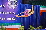 Veronica Bertolini atleta della società San Giorgio Desio durante la seconda prova del Campionato Italiano di Ginnastica Ritmica.<br /> La gara si è svolta a Desio il 31 ottobre 2015.