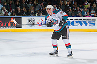 KELOWNA, CANADA - JANUARY 7: Cal Foote #25 of the Kelowna Rockets passes the puck against the Kamloops Blazers on January 7, 2017 at Prospera Place in Kelowna, British Columbia, Canada.  (Photo by Marissa Baecker/Shoot the Breeze)  *** Local Caption ***