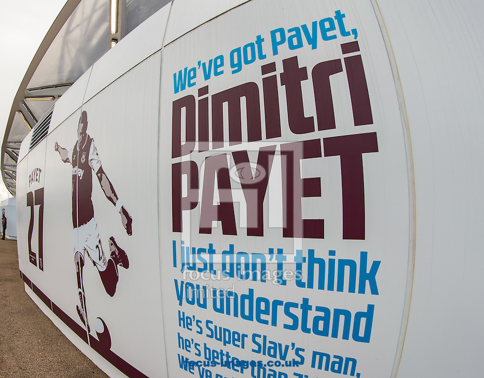Dimitri Payet signage outside the London Stadium during the Premier League match at the London Stadium, Stratford<br /> Picture by Liam McAvoy/Focus Images Ltd 07413 543156<br /> 14/01/2017