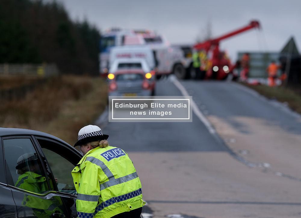 Storm Brendan, Monday 13th January 2020<br /> <br /> Strong winds from Storm Brendan hit Scotland this morning and blew over a lorry on the A704 near Breich Crossroads<br /> <br /> Pictured: The lorry on its side. Police closed the road to allow recovery.<br /> <br /> Alex Todd   Edinburgh Elite media