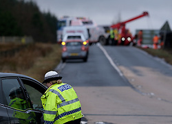 Storm Brendan, Monday 13th January 2020<br /> <br /> Strong winds from Storm Brendan hit Scotland this morning and blew over a lorry on the A704 near Breich Crossroads<br /> <br /> Pictured: The lorry on its side. Police closed the road to allow recovery.<br /> <br /> Alex Todd | Edinburgh Elite media