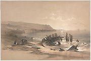 Caiaphas Looking Towards Mount Carmel. With a shipwreck in the foreground Color lithograph by David Roberts (1796-1864). An engraving reprint by Louis Haghe was published in a the book 'The Holy Land, Syria, Idumea, Arabia, Egypt and Nubia. in 1855 by D. Appleton & Co., 346 & 348 Broadway in New York.
