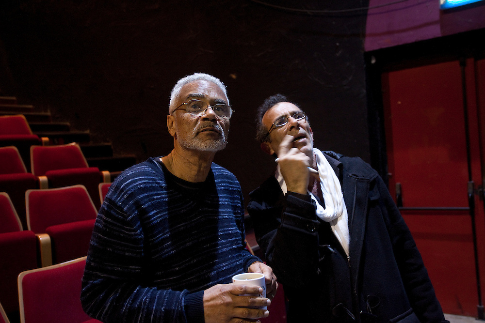 (03/15/2011 JERUSALEM)  Stanford University professor and historian Dr. Clayborne Carson and the site director Kamel El Basha discuss the play Passages of Martin Luther King at the Palestinian National Theater in Jerusalem. The two shared their thoughts during the first day of combined rehearsal between the Palestinian actors and the American gospel choir.  [WILLIE J. ALLEN JR.]
