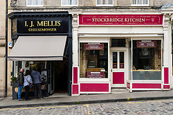 I.J. Mellis cheesemonger shop and Stockbridge Kitchen  in Stockbridge, in Edinburgh, Scotland, UK