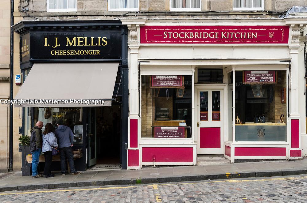 I.J. Mellis cheesemonger shop and Stockbridge Kitchen  in Stockbridge, in Edinburgh, Scotland, UK