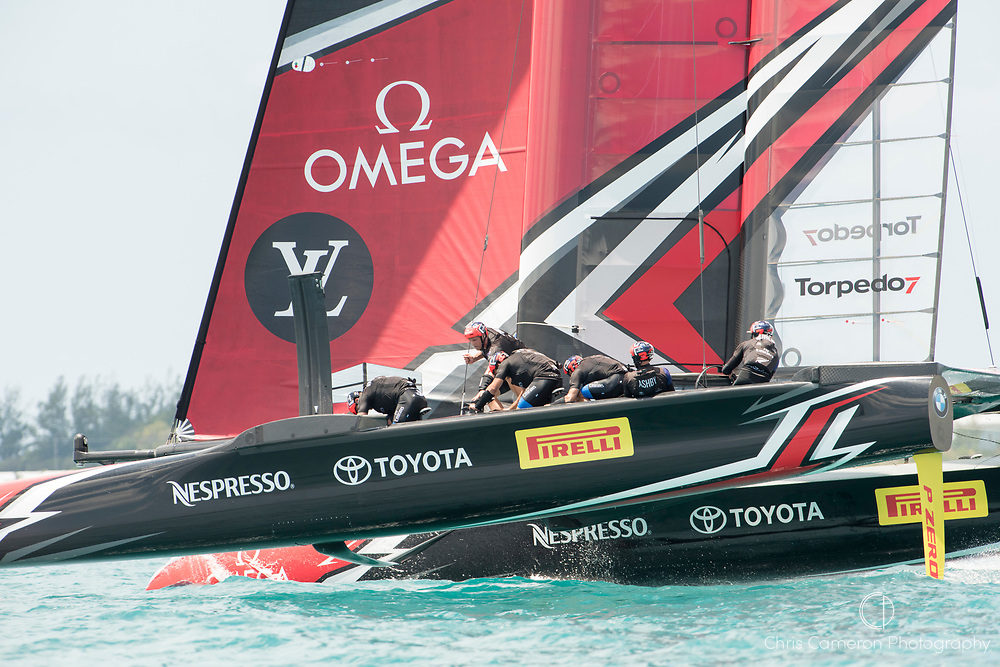 The Great Sound, Bermuda, 17th June Emirates Team New Zealand storm away from Oracle Team USA. Race one on day one of the America's Cup.