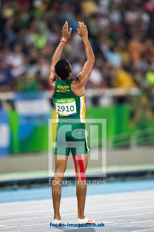 Wayde Van Niekerk of South Africa takes Gold and breaks the World Record in the Men's 400m Final on day nine of the XXXI 2016 Olympic Summer Games in Rio de Janeiro, Brazil.<br /> Picture by EXPA Pictures/Focus Images Ltd 07814482222<br /> 14/08/2016<br /> *** UK &amp; IRELAND ONLY ***<br /> <br /> EXPA-GRO-160815-5339.jpg