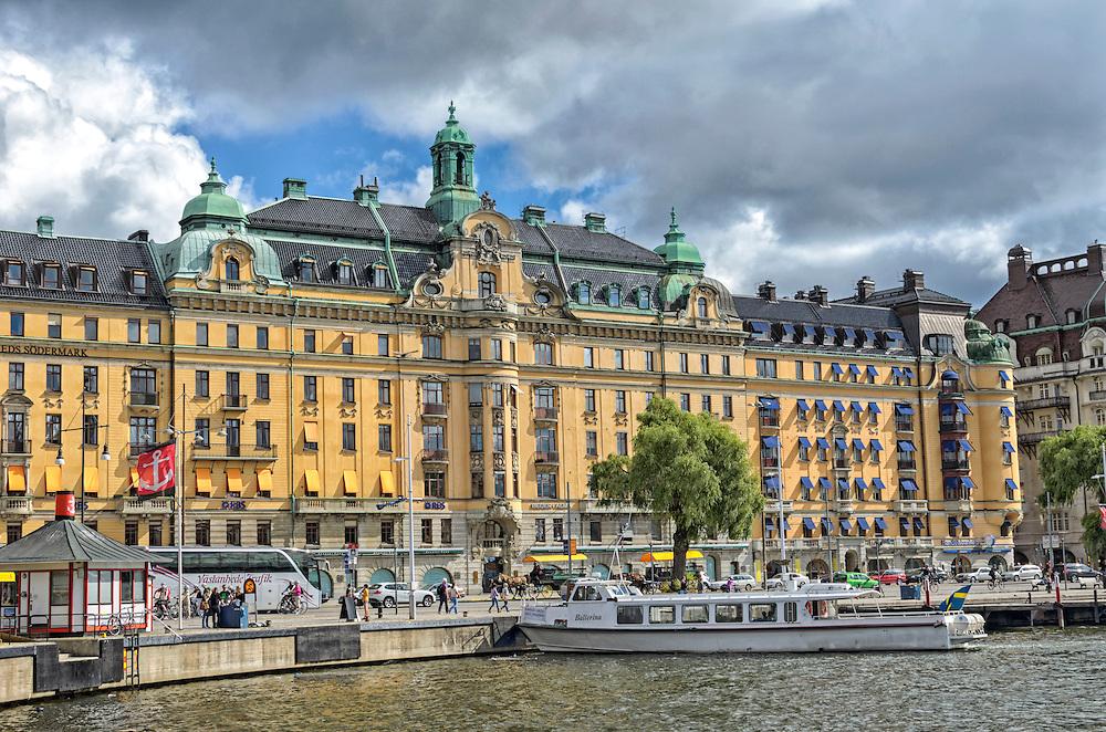 View of the boulevard Strandvägen (Beach Road) in affluent Ostermalm in central Stockholm, Sweden