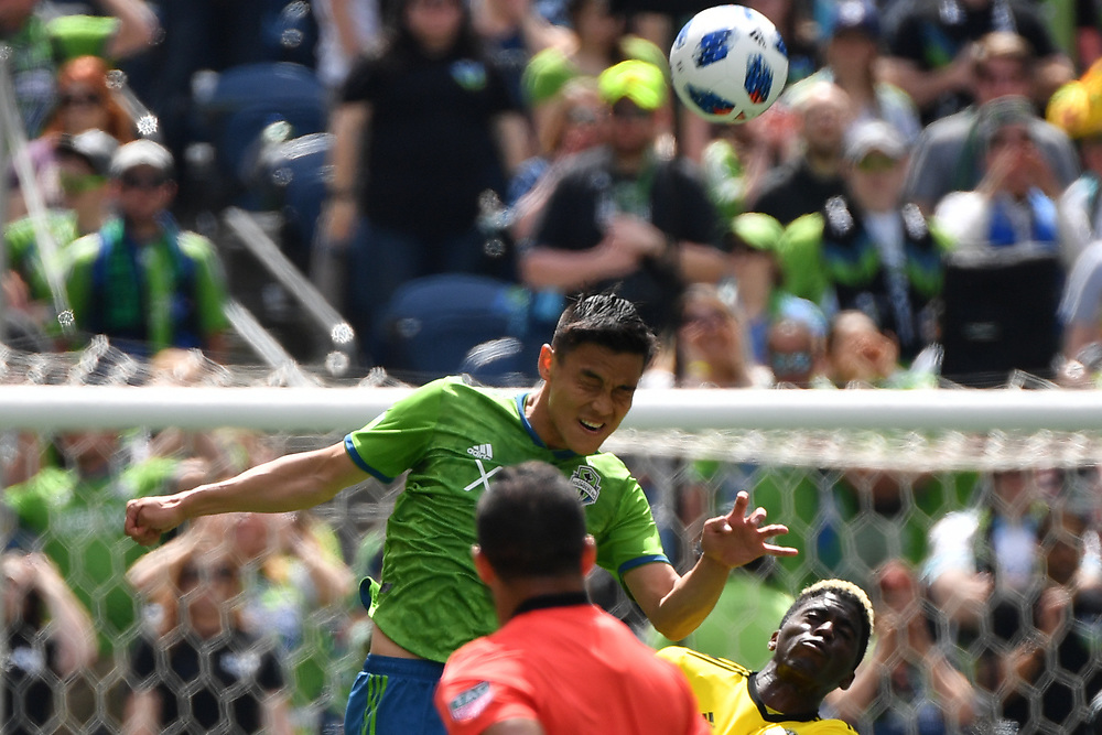 May 05, 2018; Seattle, Washington, US;  during in action between the Seattle Sounders FC and Columbus Crew at Century Link Field. Photo credit: Rick May - Rick May Photography