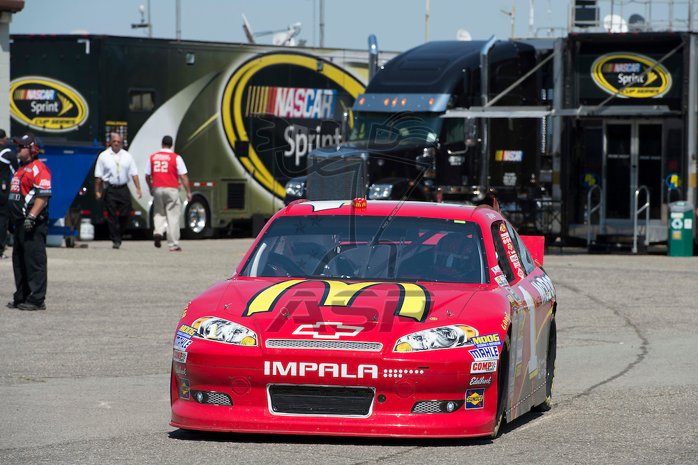 Brooklyn, MI - JUN 15, 2012: Jamie McMurray (1) driving in the garage area during a practice session for the Quicken Loans 400, at Michigan International Speedway, Brooklyn, MI.